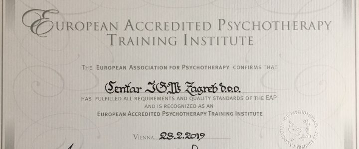 Centar IGW Zagreb od 23.2.2019. akreditirani je Institut za edukaciju u gestalt psihoterapiji od strane European Association for Psychotherapy.